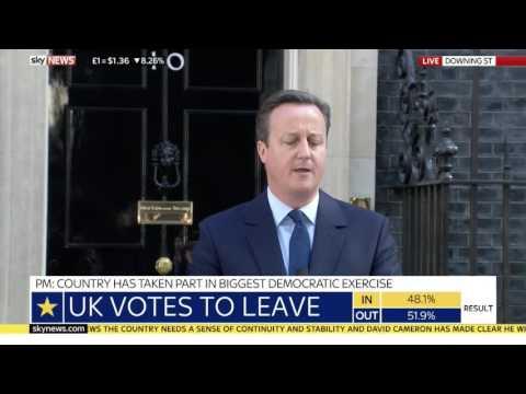 Le Premier ministre britannique David Cameron annonce sa démission dans son discours post-Brexit