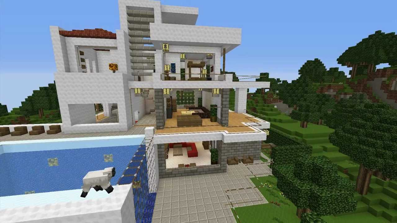 Minecraft modern villa build with invading sheeps youtube - Minecraft villa ...