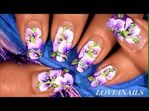 Purple SweetPea Spring One Stroke Flower Nail Art Design Tutorial