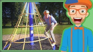 Learn Colors with Blippi | Playing at the Playground