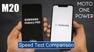 Samsung M20 vs Moto One Power Speed Test Comparison !!