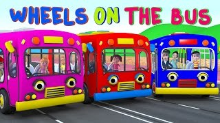 The Wheels on the Bus | Learning Colors Bus | Nursery Rhymes and Kids Songs 3D