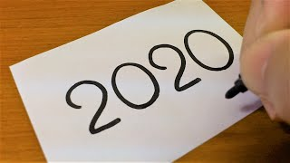 "Happy New Year!How to draw 2020 with the word 2020(Japanese Zodiac ""mouse"" of 2020)"