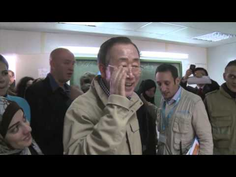 UN Secretary-General Ban Ki-moon visits the Zaatari Refugee Camp