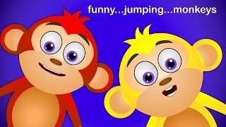 Crazy Little Monkeys Cartoon Rhymes  ☜♥☞ 5 Little Monkeys Jumping On The Bed