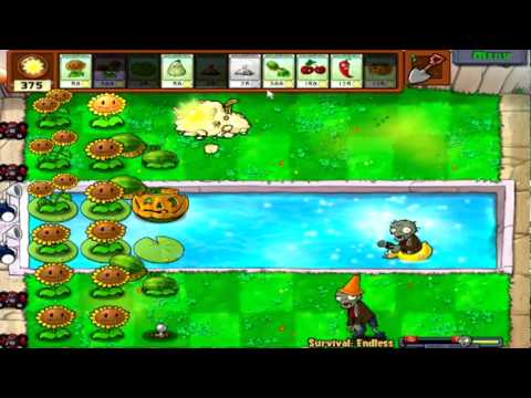 Plants Vs. Zombies Part 46 Survival Endless Flags 1-4