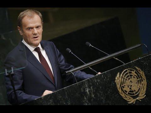 European Council president Donald Tusk addresses UN General Assembly