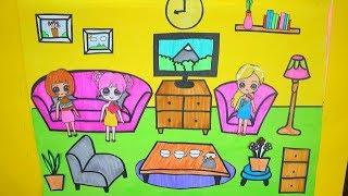 NGÔI NHÀ BÚP BÊ GIẤY#8 /  Làm phòng khách bằng giấy cho búp bê / How to make paper dolls living room
