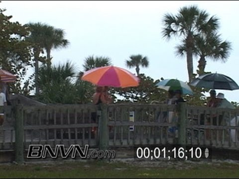 4/9/2006 Sarasota, FL sunset and rain at the beach footage