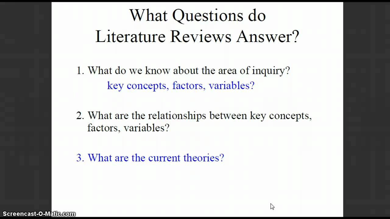 Literature Review Example APA Paper