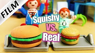 Playmobil Film Deutsch REAL FOOD vs XXL SQUISHY FOOD! EMMA + JULIAN ESSEN CHALLENGE - Familie Vogel