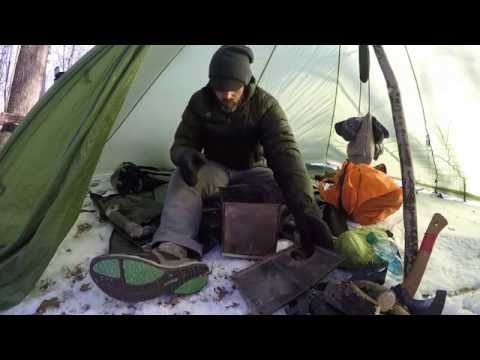 Hot Tent Wood Stove Bushcraft Overnight winter survival Backpacking.