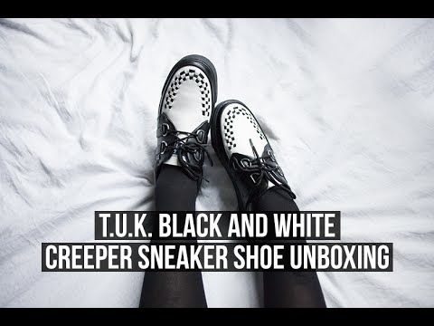 T.U.K. BLACK AND WHITE CREEPER SNEAKER SHOE UNBOXING!   Rocknroller