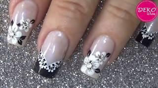Lace and flowers easy nail art ♥ Deko Uñas