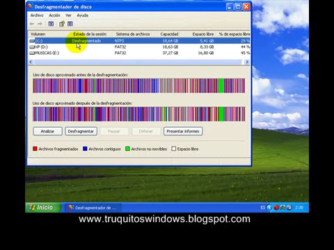 Desfragmentacion de disco en XP (www.deinternetatucartera.blogspot.com)