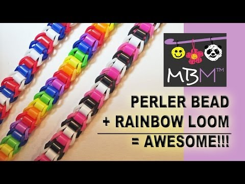Perler or Hama Beads + Rainbow Loom Bands = Awesome NEW Bracelet!
