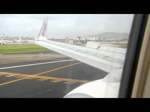 Boeing 737-800 CJB-DEL SpiceJet: Landing in BOM [Wing View]