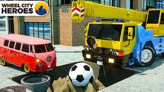 Crane Pulling Soccer Ball from Puddle. Wheel City Heroes (WCH) | Street Vehicles Cartoon for Kids