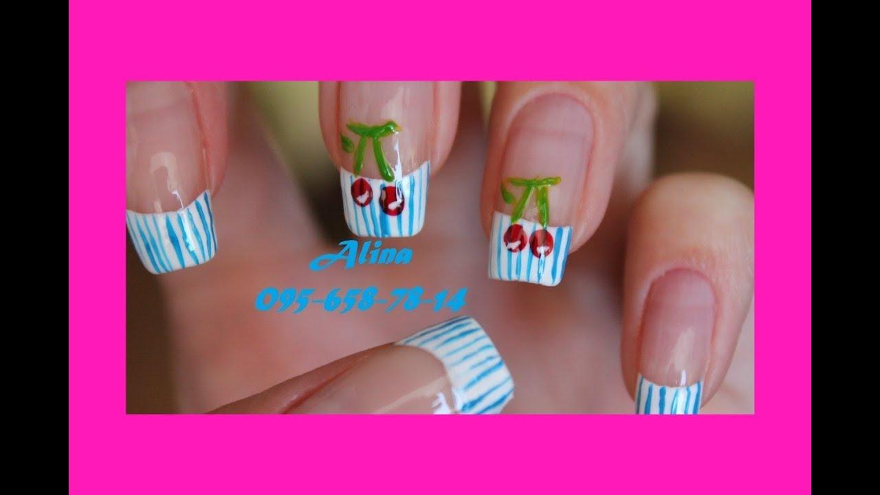 Как нарисовать вишенки на ногтях