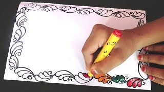 Colorful | Border designs on paper | border designs | project work designs | borders for projects