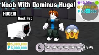 Noob With Dominus Huge! Breaks The Game In 1 Minute! Best Pet In Game! - Pet Simulator