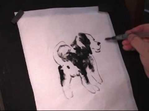 Puppy Dog Sumi Ink and Chinese Brush Painting