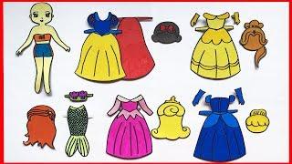 Tự làm búp bê giấy - Công chúa Disney bạch tuyết, lọ lem, ariel, belle.. Paper dolls (Chim Xinh)