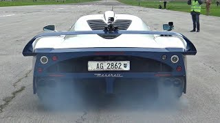Maserati MC12 with Custom Exhaust Doing CRAZY Launches on the Airstrip!! - AMAZING V12 Sounds!