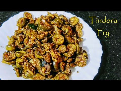Dondakaya Fry   Tindora Fry  దొండకాయ కొబ్బరి కారం   Ivy Gourd Fry  