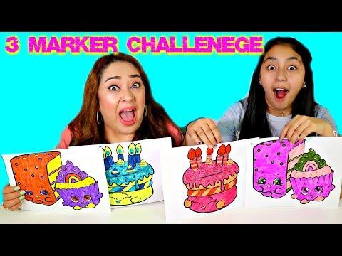 3 MARKER CHALLENGE!!!B2cutecupcakes