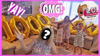Fun Family Three 1 Million Subscriber Dance Party LOL Dolls A Giant Cake and MOM face reveal !