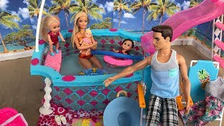 Barbie doll Pool Party Family Day Routine!!