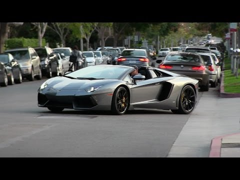 Jimmy Iovine driving his 2014 Lamborghini Aventador Roadster in Beverly Hills!