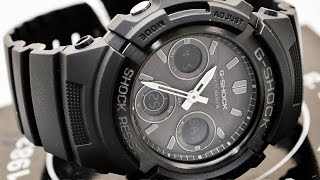 Casio GSHOCK AWGM100B-1A REVIEW   How To Set Time   LIGHT DISPLAY