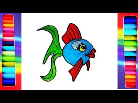 Como Dibujar y Colorear Un Pez de Colores / Dibujos Para Niños - www ...