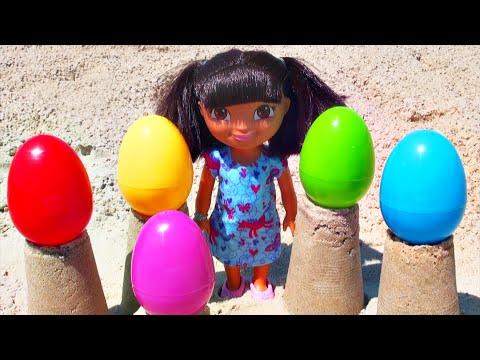Beach Dora the Explorer Rainbow Surprise Eggs Peppa Pig Disney Princess Lalaloopsy Ocean FluffyJet