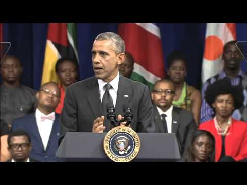 President Obama welcomes Zimbabwe's own Abbigail Muleya to the Young African Leaders Town Hall!
