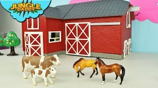 FARM ANIMALS Delivery in Red Barn! Horse Cow schleich wild life jungle