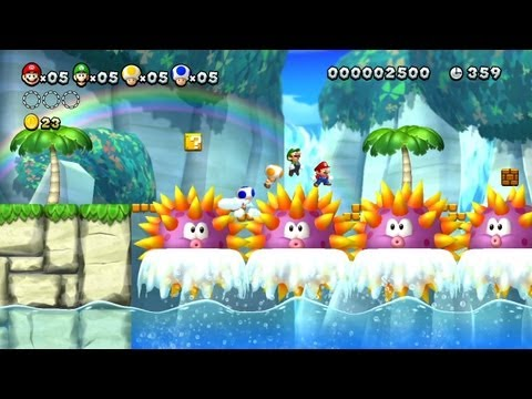 New Super Mario Bros. U -- Sychronized Platforming in Urchin Shoals