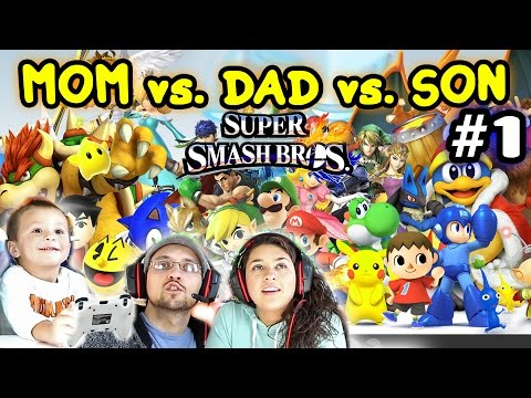 Lets Play Super Smash Bros 4 WiiU - Mom vs. Dad vs. Chase (BATTLE MODE FINALLY!) (Amiibo)