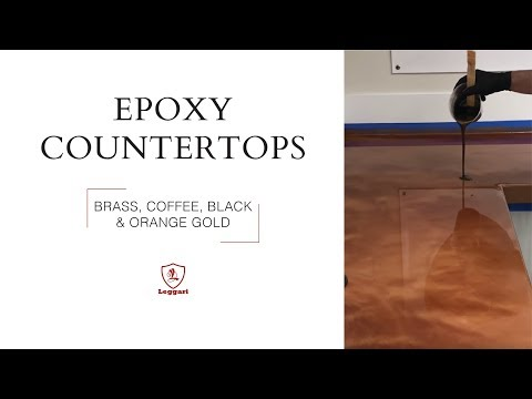 DIY Epoxy Countertop Coating in Brass, Coffee, Black and Orange Gold Metallics