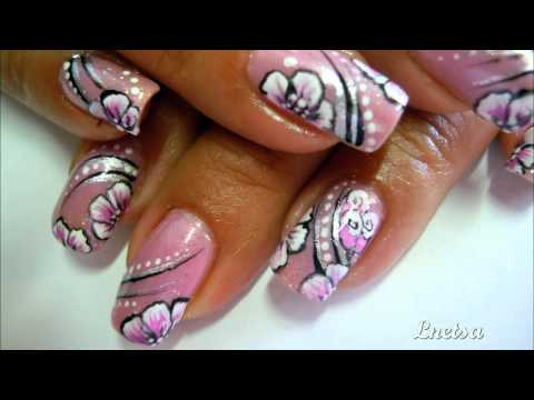 Keep it low - one stroke flower nailart