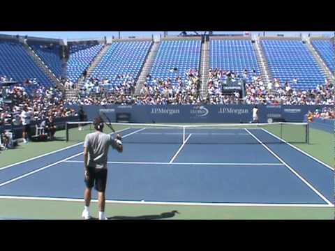 全米オープン 2010 Practice Day - フェデラー vs. モンフィス practice set (8/27/2010)