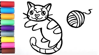 Sunnyside Draw ♡ Cute Cat Learn The Colors Drawing For Families