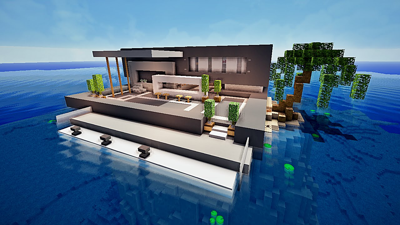 Maison moderne bois minecraft pr l vement d for Deco maison moderne youtube