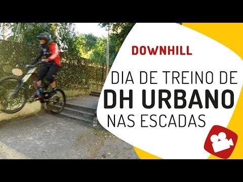 Downhill urbano nas escadas Treino de DH Pedaleria