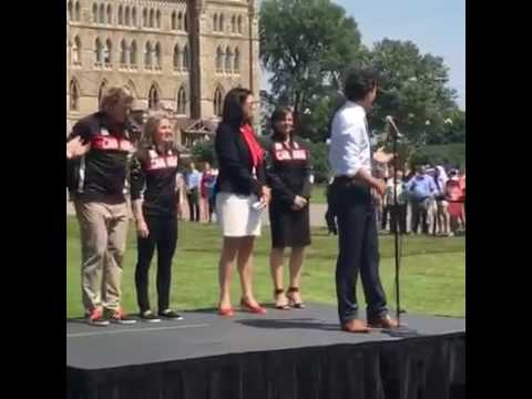 Prime Minister Justin Trudeau Announcing Team Canada Equipe Canada Flag Bearer For The Rio 2016