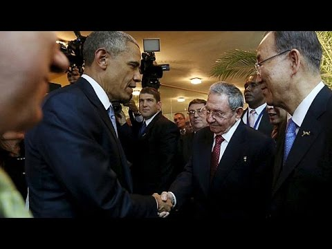 US and Cuba make history as Obama and Castro shake hands