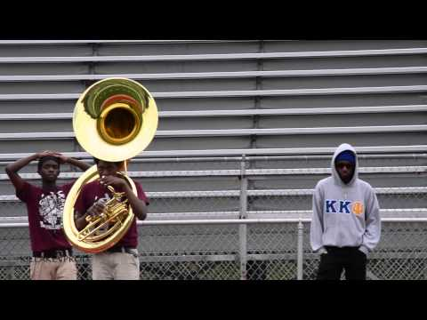 Whitehaven High School Marching Band - Tubas and Percussion (1 vs 11) - 2014