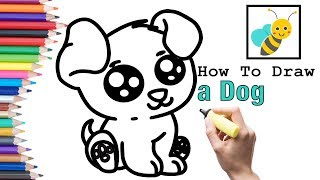 How To Draw A Dog And Drawing For Kids, Toddlers | Bee Art